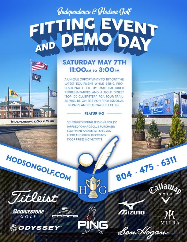 Mark your calendars – Equipment Fitting & Trial event scheduled for Saturday 5/7/16 at Independence Golf Club